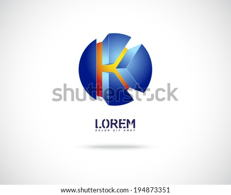 Abstract Vector Emblem Design Template. Creative Blue Concept Icon. Combination of Letter K - stock vector