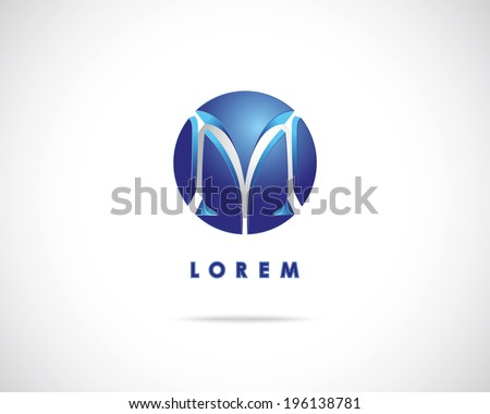 Abstract Vector Emblem Design Template. Creative Blue Concept Icon. Combination of Letter M - stock vector