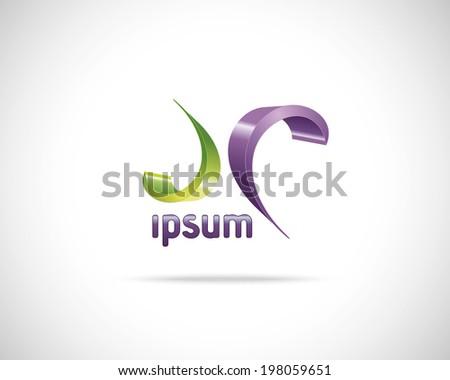 Abstract Vector Emblem Design Template. Creative Green Purple Wavy Concept Icon - stock vector