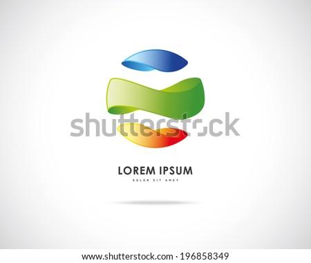 Abstract Vector Emblem Design Template. Creative Round Concept Icon - stock vector