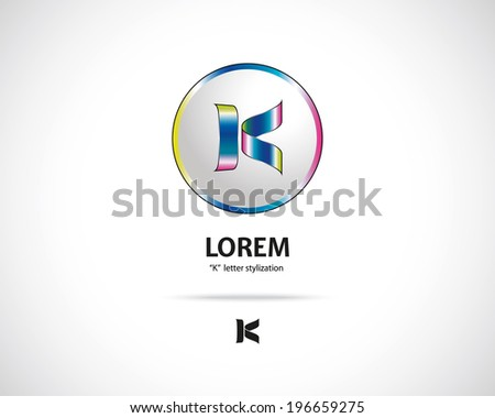 Abstract Vector Emblem Design Template. Creative Round Concept Icon. Combination of Letter K - stock vector