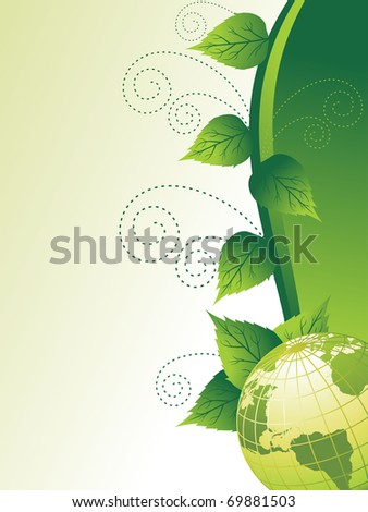 abstract vector environmental background with globe cover with floral - stock vector