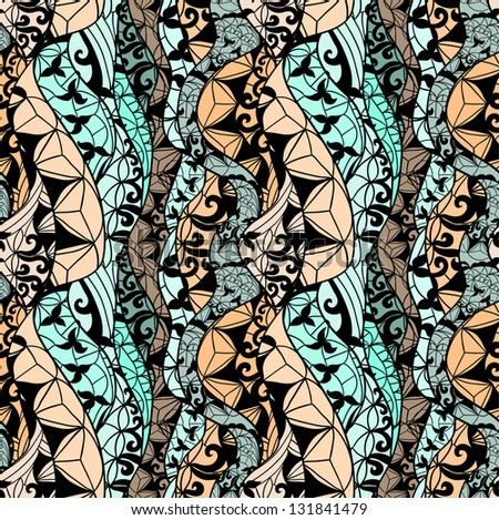 Abstract  vector fabric seamless pattern with lines and flowers - stock vector