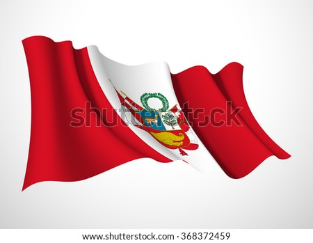Abstract vector festive banner with beautiful fluttering in the wind Republic  of of Peru flag isolated on a white background - stock vector