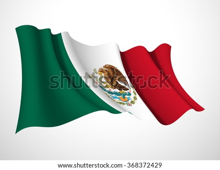 Abstract vector festive banner with beautiful fluttering in the wind United Mexican States flag isolated on a white background - stock vector