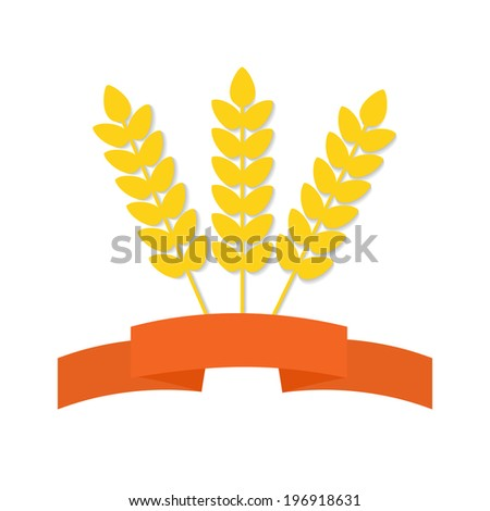 Abstract vector flat wheat ears on isolated background with decorative banner. Healthy eating symbol for your design. - stock vector