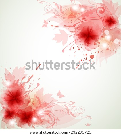 Abstract vector floral background with red flowers and leaves