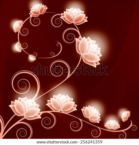 Abstract Vector Floral Background with Shiny Flowers. - stock vector
