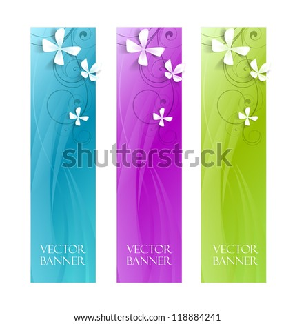 abstract vector floral banners , colorful background - stock vector