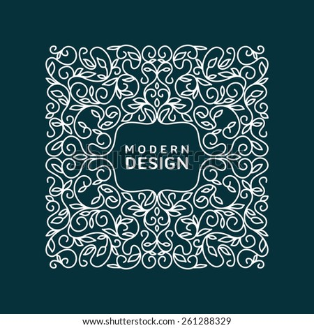 Abstract Vector Floral Frame With Copy Space For Text in Trendy Mono Line Style.  Monogram Design Element - stock vector