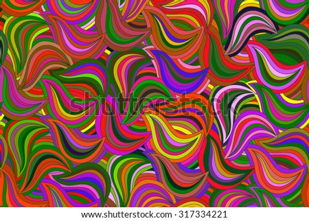 Abstract vector floral seamless colorful background of hand drawn lines