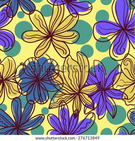 Abstract vector floral seamless pattern. - stock vector
