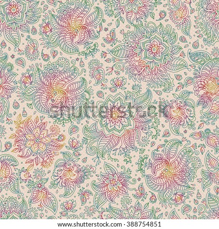 Abstract vector floral seamless pattern. Exotic Paisley elements, fantastic flower,leaves. Dark rainbow colored thin contour line. Fairy beige background.Textile bohemian print. Batik painting.Vintage - stock vector