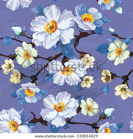 Abstract Vector floral seamless pattern with blooming flowers. Elegance illustration - stock vector