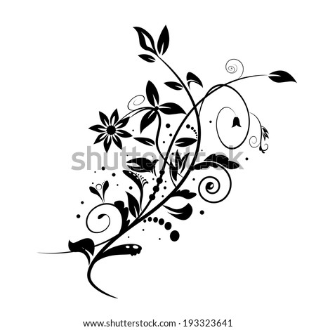 Abstract vector floral shape isolated on white background - stock vector