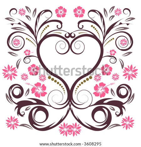 abstract vector flower heart - stock vector