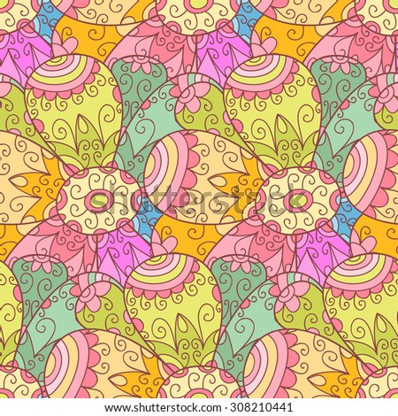 Abstract vector flower seamless pattern with swirls and leafs. Cute doodle background.