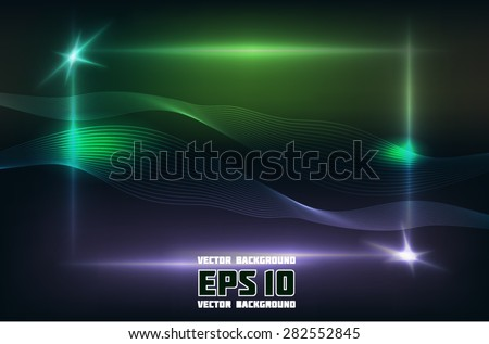 abstract vector frame with wave light music lines for your artwork - stock vector