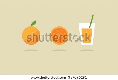 Abstract vector fresh orange juice icon set - stock vector