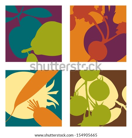 abstract vector fruit and vegetable designs set 2 - stock vector