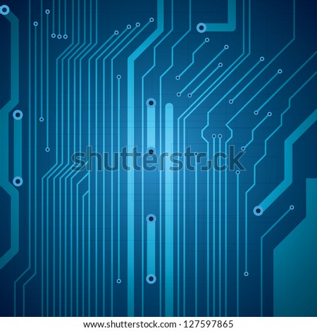Abstract vector futuristic circuit blue background - stock vector