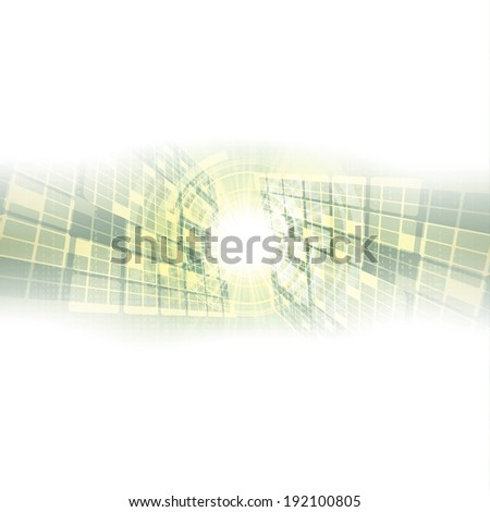 Abstract vector futuristic green white background illustration  - stock vector