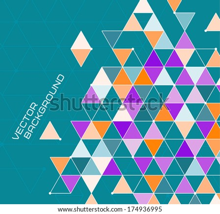 abstract vector geometric background with bright triangles on sea green backround