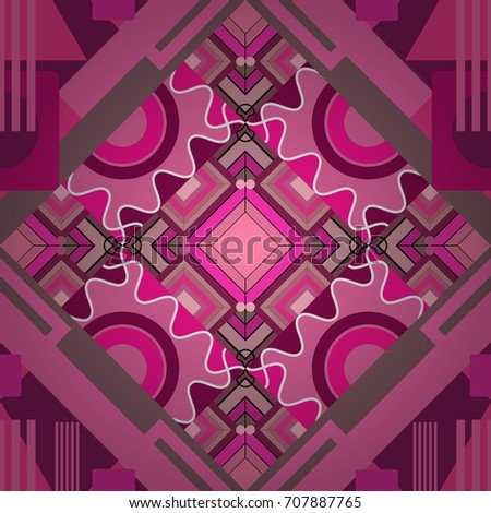 Abstract vector geometric seamless pattern with circles, lines and rhombuses in pink, purple and magenta colors.