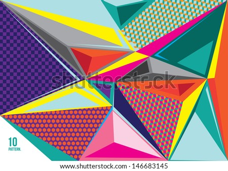 Abstract Vector Geometric triangle pattern Color Background - stock vector
