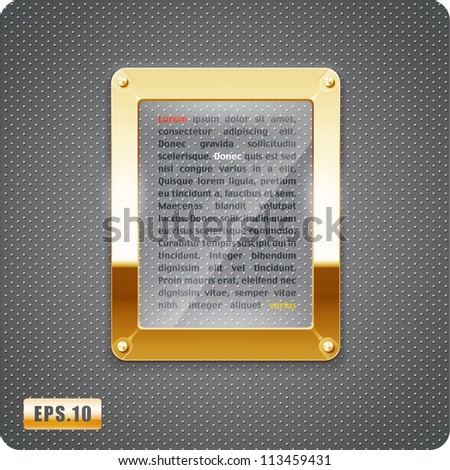 Abstract vector glass plane on halftone background. Gold metal frame. 3d. Eps10. - stock vector
