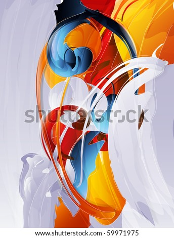 abstract vector graphic, bright background in graffiti - stock vector