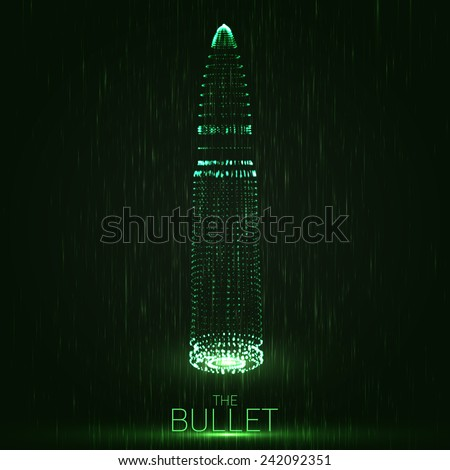 Abstract vector green background with glowing bullet. Cloud of shining points in the shape of a bullet. Futuristic style card. Eps10 - stock vector