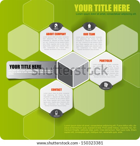 Abstract vector green infographic background with icons and place for text - stock vector