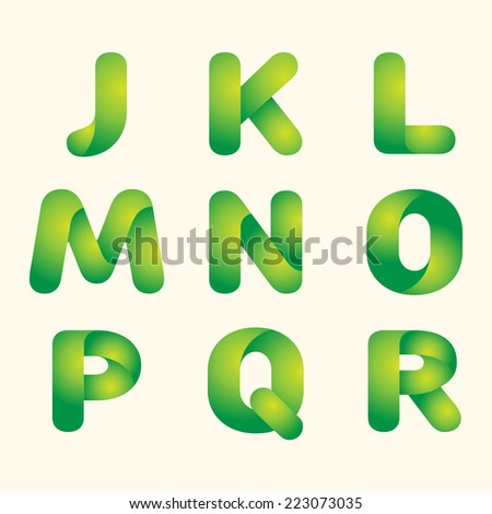 abstract vector green leaves eco font set of letters - stock vector