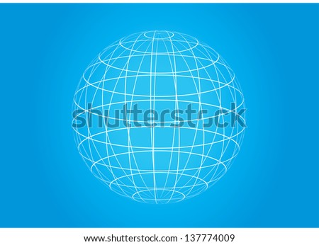 abstract vector grid ball, planet earth icon isolated on glossy blue background - stock vector