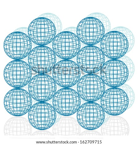 abstract vector grid balls background - stock vector