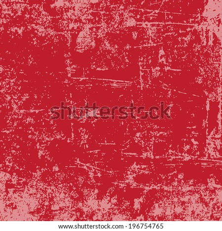 Abstract vector grunge distressed and scratched red weathered paint background - stock vector