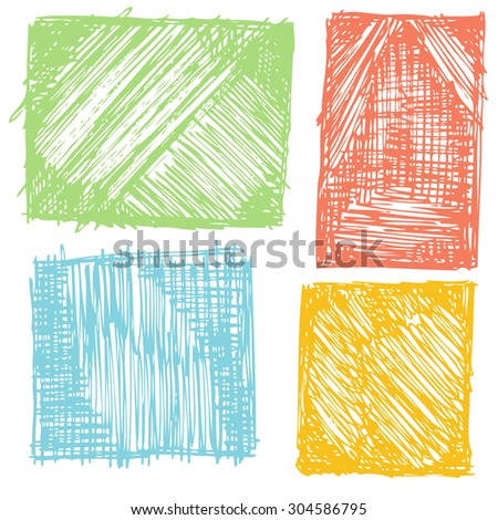 Abstract Vector hand drawn pencil grunge background squares set  - stock vector