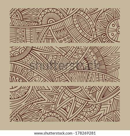 Abstract vector hand drawn vintage ethnic banners - stock vector