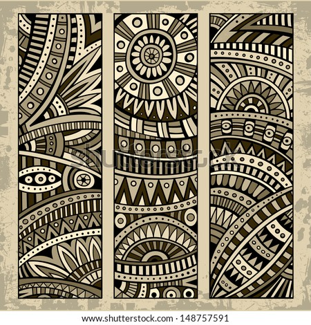 Abstract vector hand drawn vintage ethnic pattern card set. Part 1 - stock vector