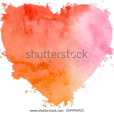 Abstract vector hand-drawn watercolor heart. Valentine's background. Colourful template. There is blank place for your text. EPS 8. - stock vector