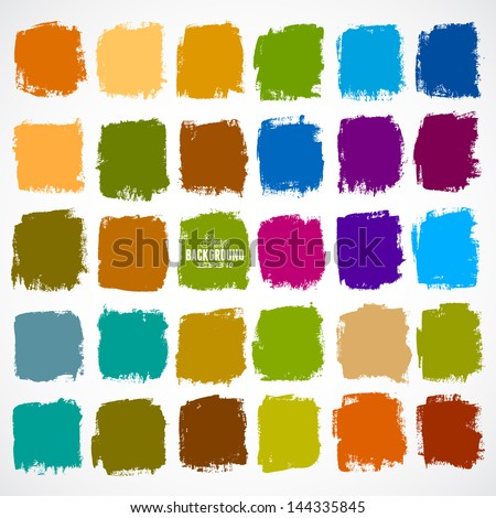 Abstract vector hand-painted square backgrounds - stock vector