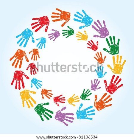 abstract vector hand prints background and free place for text - stock vector