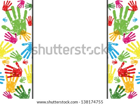 abstract vector hand prints background with empty space - stock vector