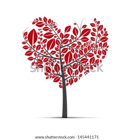 Abstract vector heart-shaped tree on white background