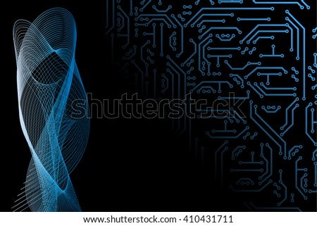 Abstract vector hi-tech background, web-site header or banner with circuit pattern in yellow, green and black colors for your design. Communication hi-tech IT  technology backdrop concept.  - stock vector