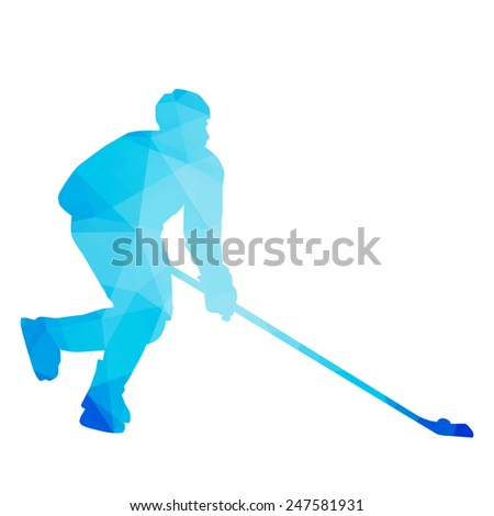 Abstract vector hockey player - stock vector