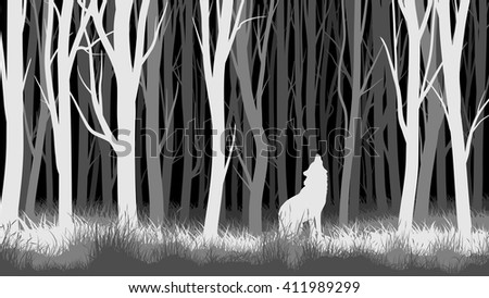 Abstract vector horizontal illustration of night forest with trees and wolf.