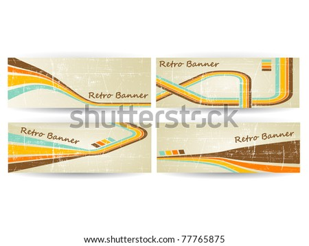 Abstract Vector Horizontal Retro Grunge Banner eps - stock vector