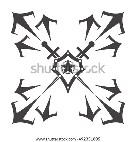 Abstract vector icon - shield and sword. Shield and sword emblem.